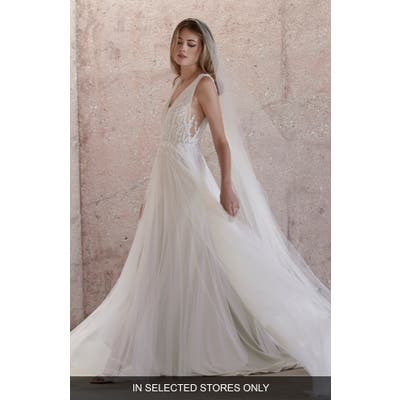 Watters Kroes Embellished Tulle Wedding Dress, Size - Ivory