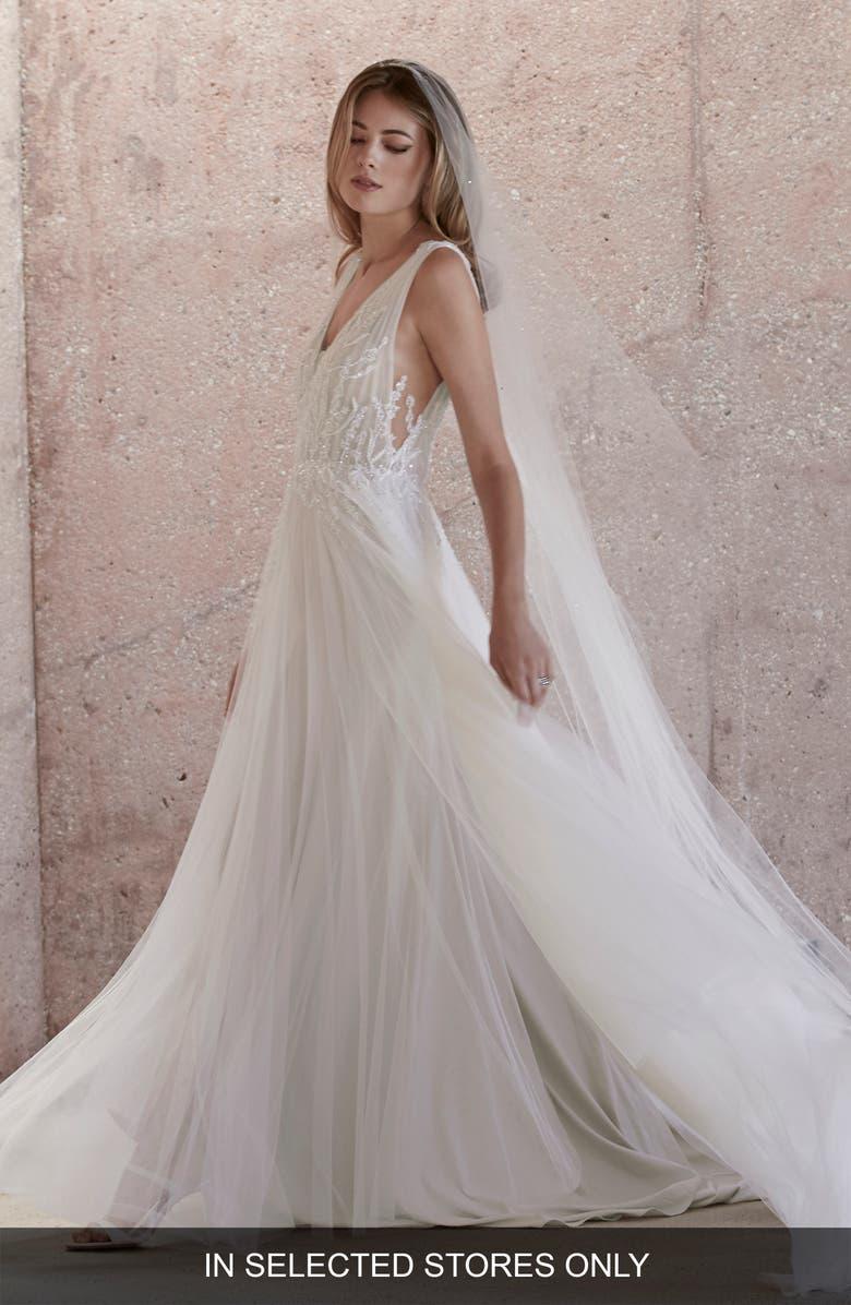 WATTERS Kroes Embellished Tulle Wedding Dress, Main, color, IVORY/BLUSH