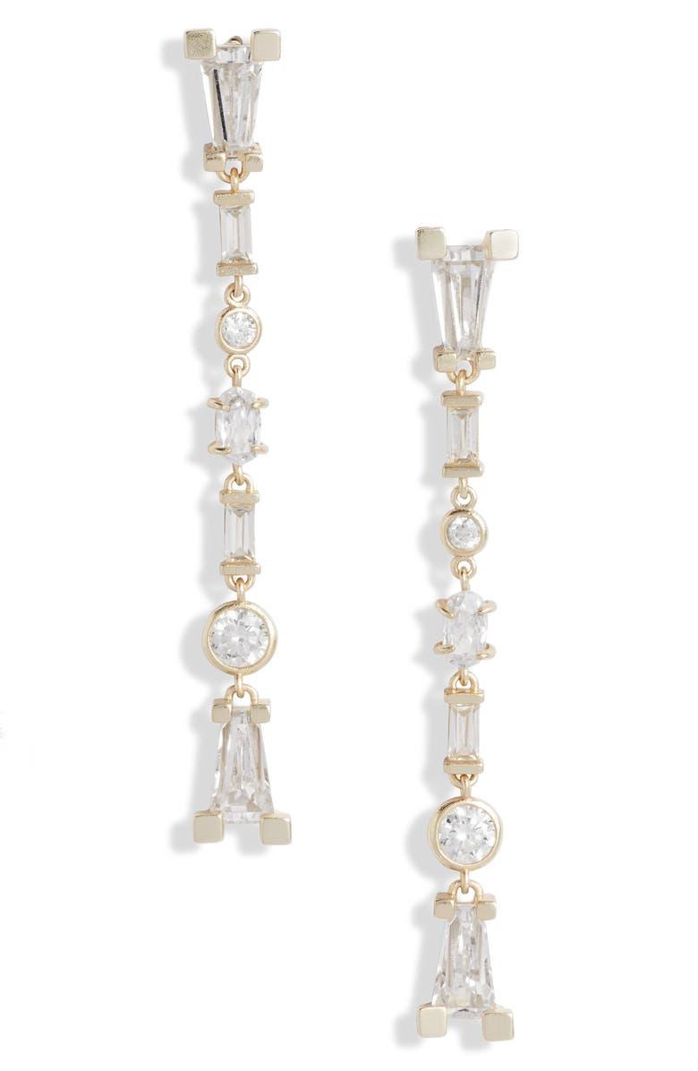 KENDRA SCOTT Rumi Linear Drop Earrings, Main, color, GOLD LUSTRE/ GLASS CZ