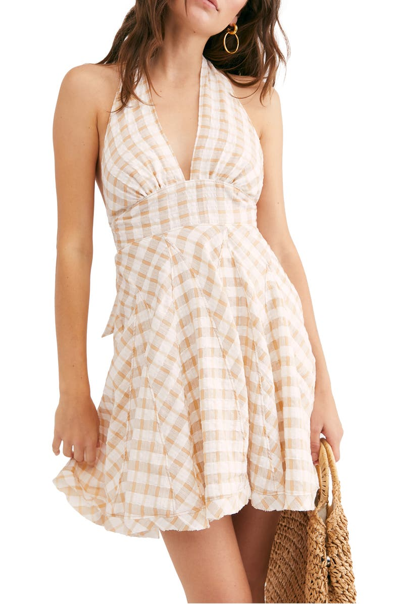 FREE PEOPLE Do the Twist Seersucker Halter Sundress, Main, color, TEA COMBO