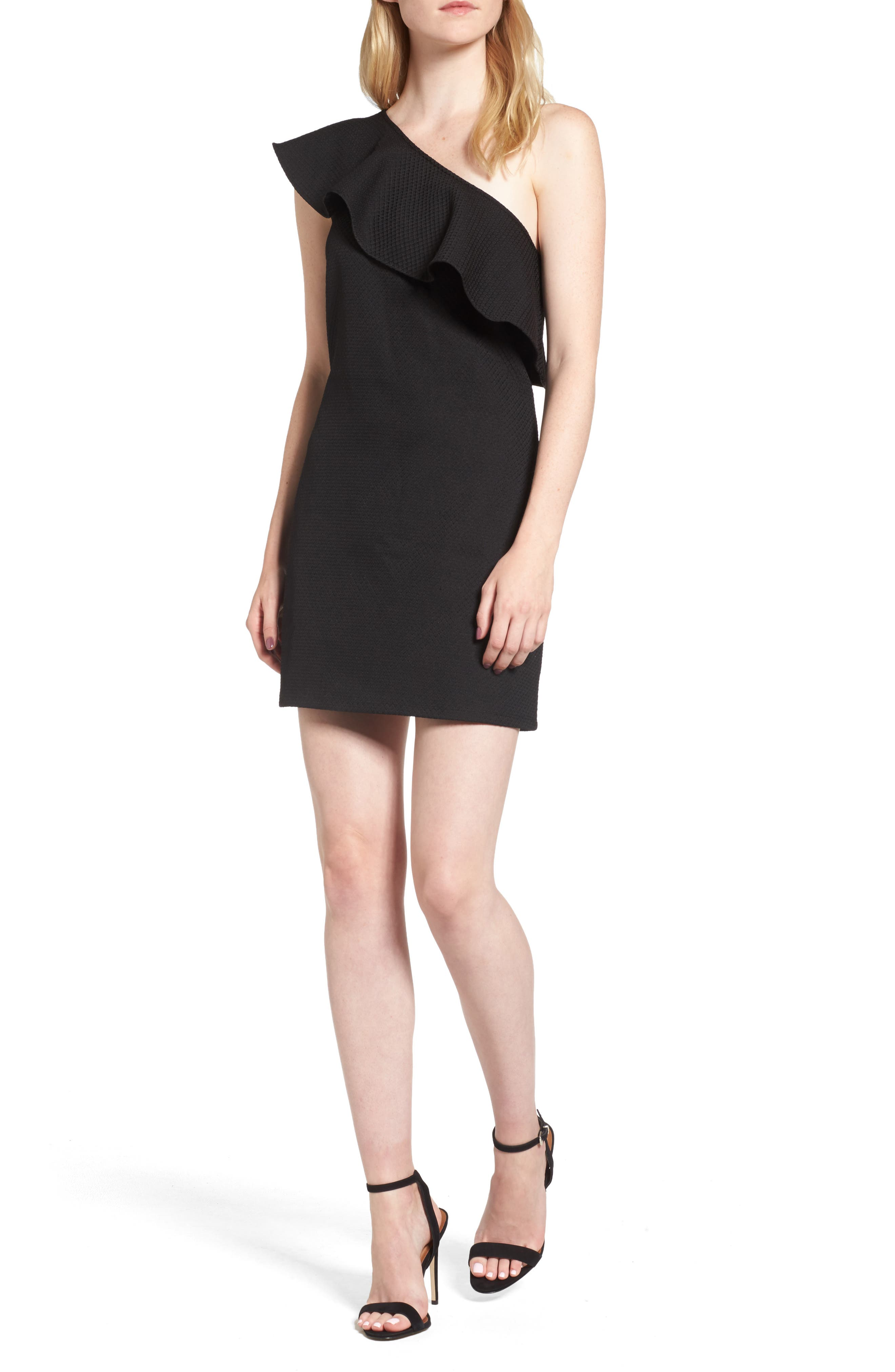 Ruffle One-Shoulder Dress, Main, color, 001