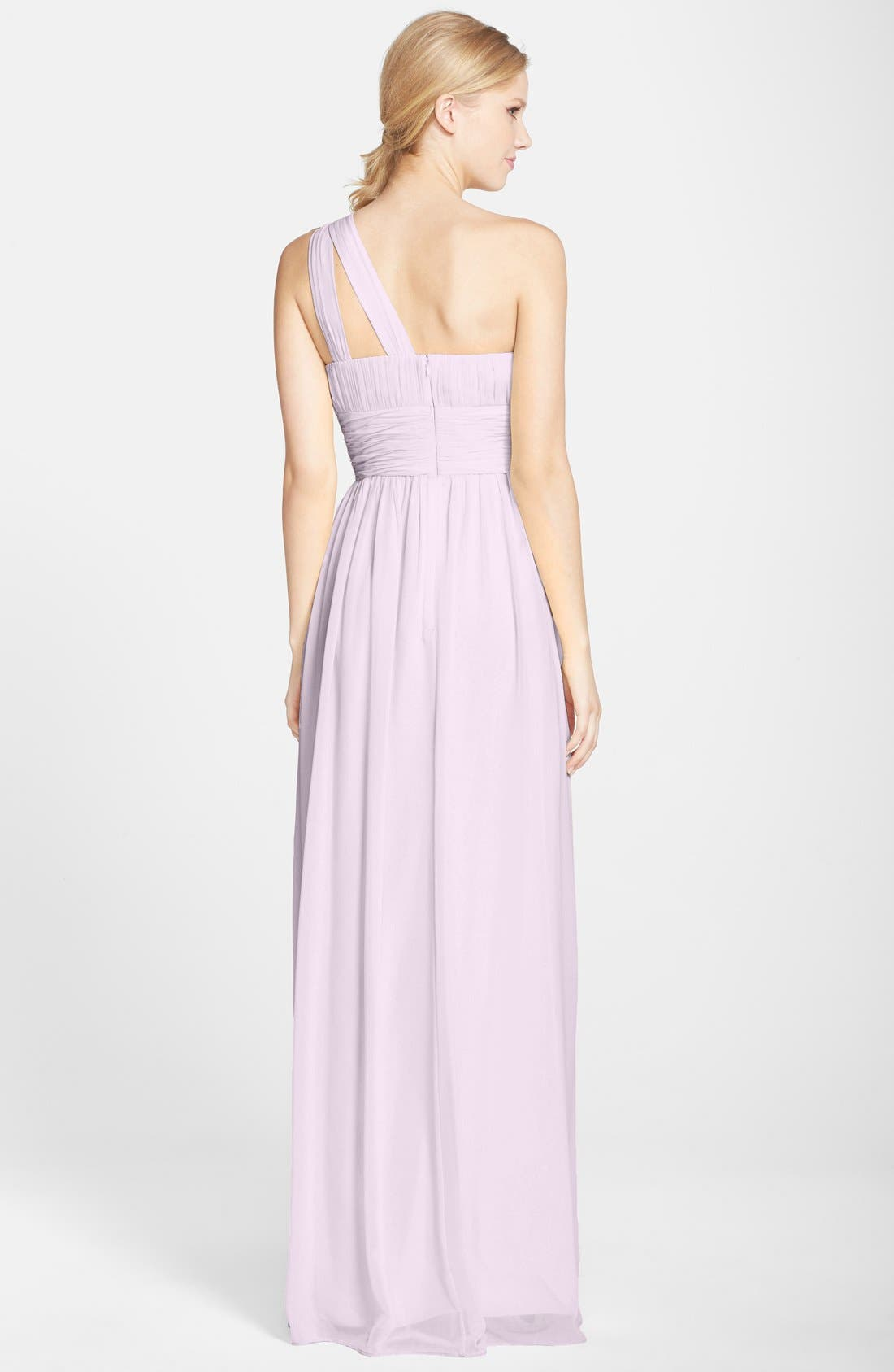 ,                             'Rachel' Ruched One-Shoulder Chiffon Gown,                             Alternate thumbnail 116, color,                             685