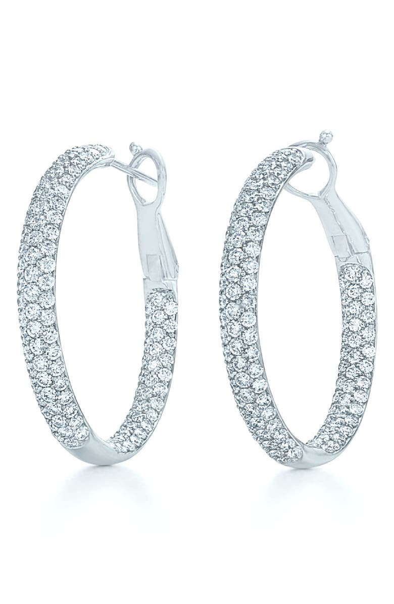 KWIAT Moonlight Pavé Diamond Hoop Earrings, Main, color, WHITE GOLD