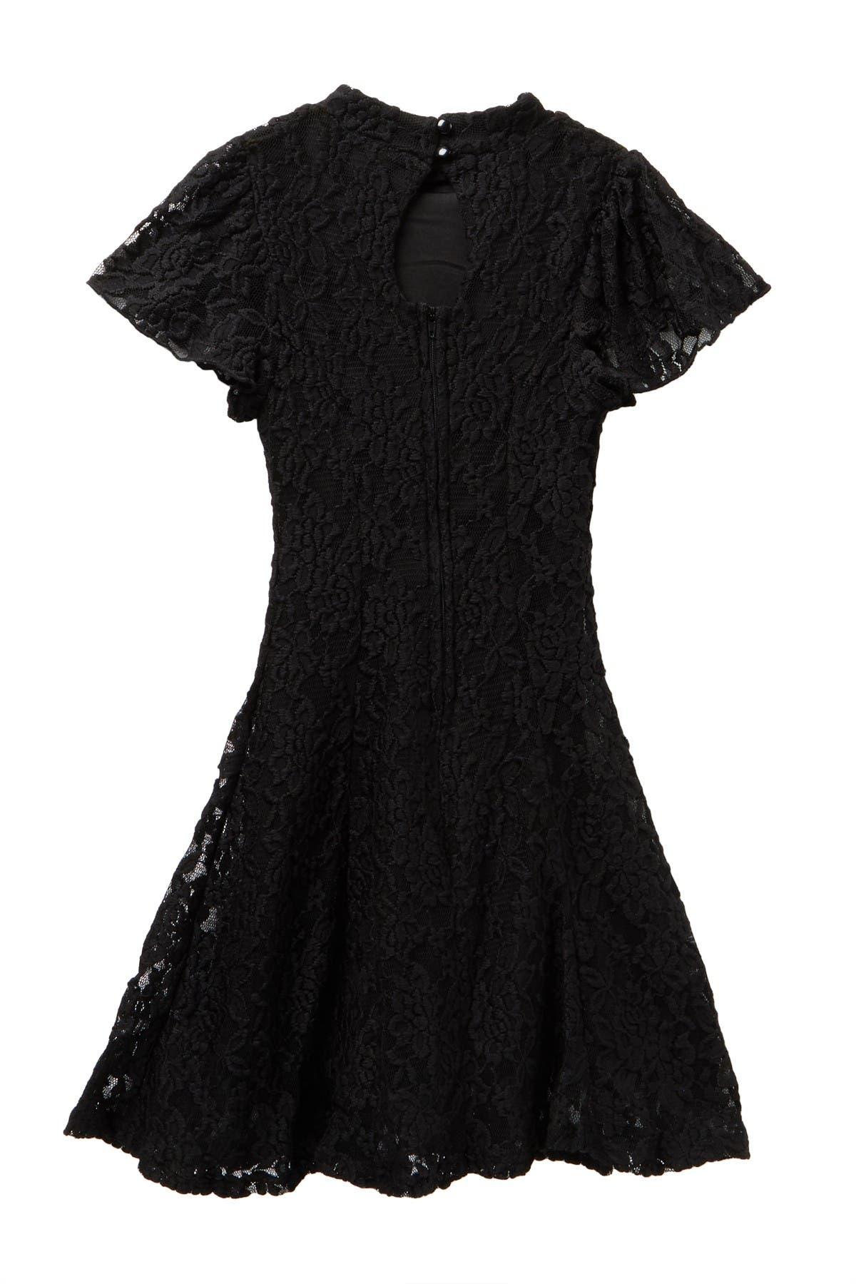 Zunie Flutter Sleeve Lace Dress