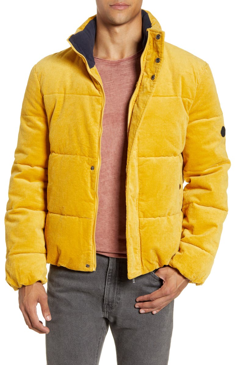 NATIVE YOUTH Pathfinder Corduroy Puffer Jacket, Main, color, YELLOW