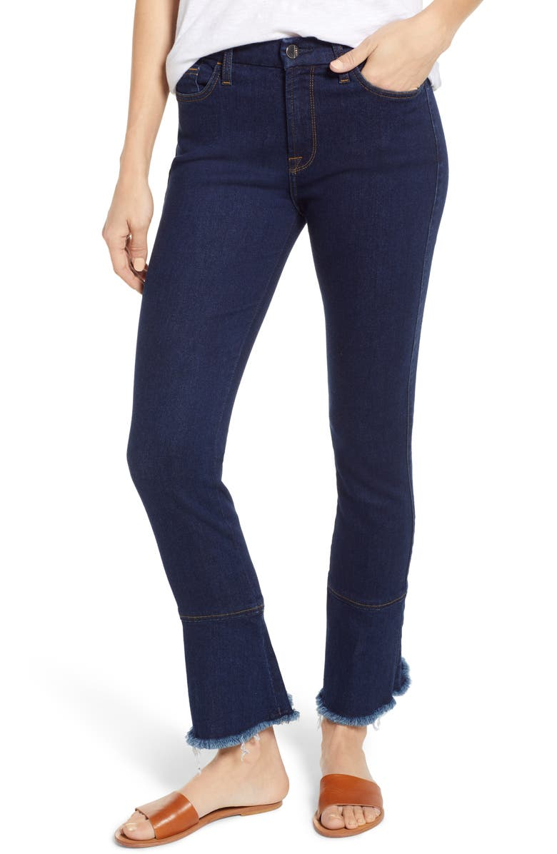 JEN7 BY 7 FOR ALL MANKIND Ruffle Hem Skinny Ankle Jeans, Main, color, 401