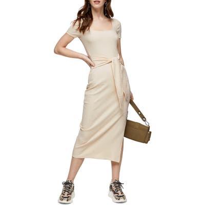 Topshop Rib Knit Tie Waist Dress, US (fits like 0) - Ivory