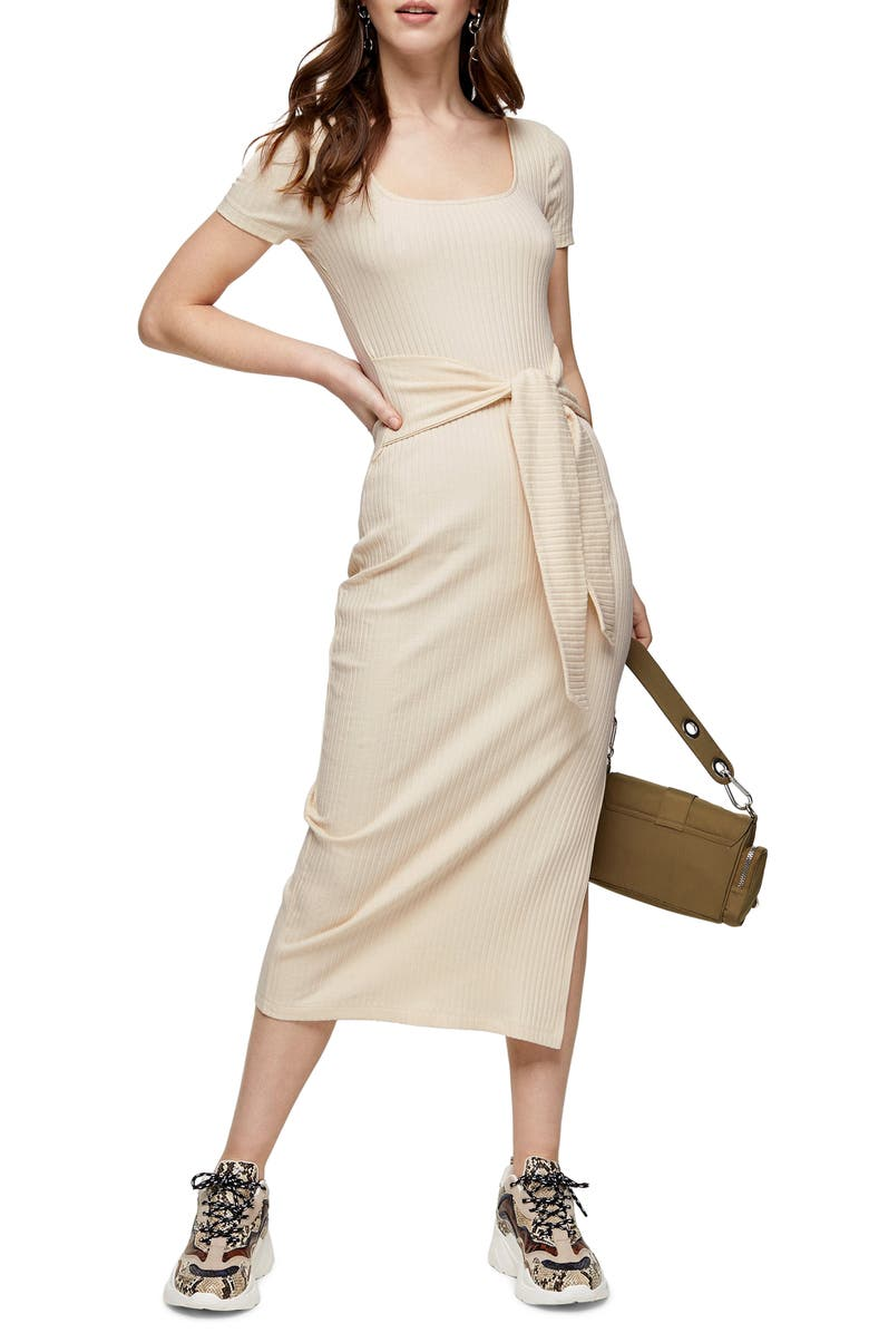 TOPSHOP Rib Knit Tie Waist Maxi Dress, Main, color, ECRU