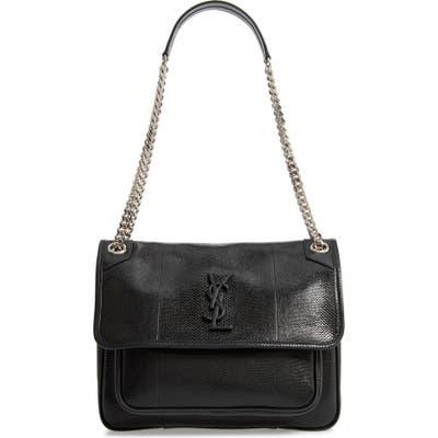 Saint Laurent Medium Niki Snakeskin Shoulder Bag - Black