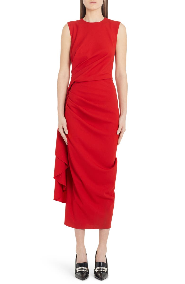 ALEXANDER MCQUEEN Gathered Waist Stretch Wool Midi Dress, Main, color, LUST RED