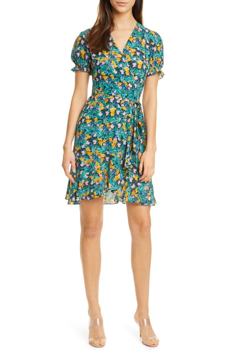 DVF Emilia Floral Short Sleeve Wrap Dress, Main, color, 300