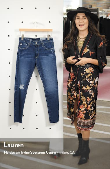 The Farrah High Waist Raw Hem Ankle Skinny Jeans, sales video thumbnail