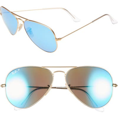 Ray-Ban Standard Icons 5m Mirrored Polarized Aviator Sunglasses -