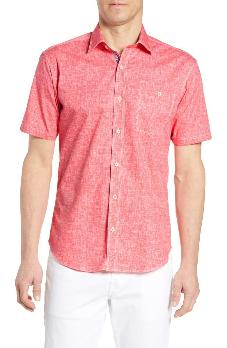BUGATCHI Shaped Fit Print Cotton Shirt, Main, color, PINK