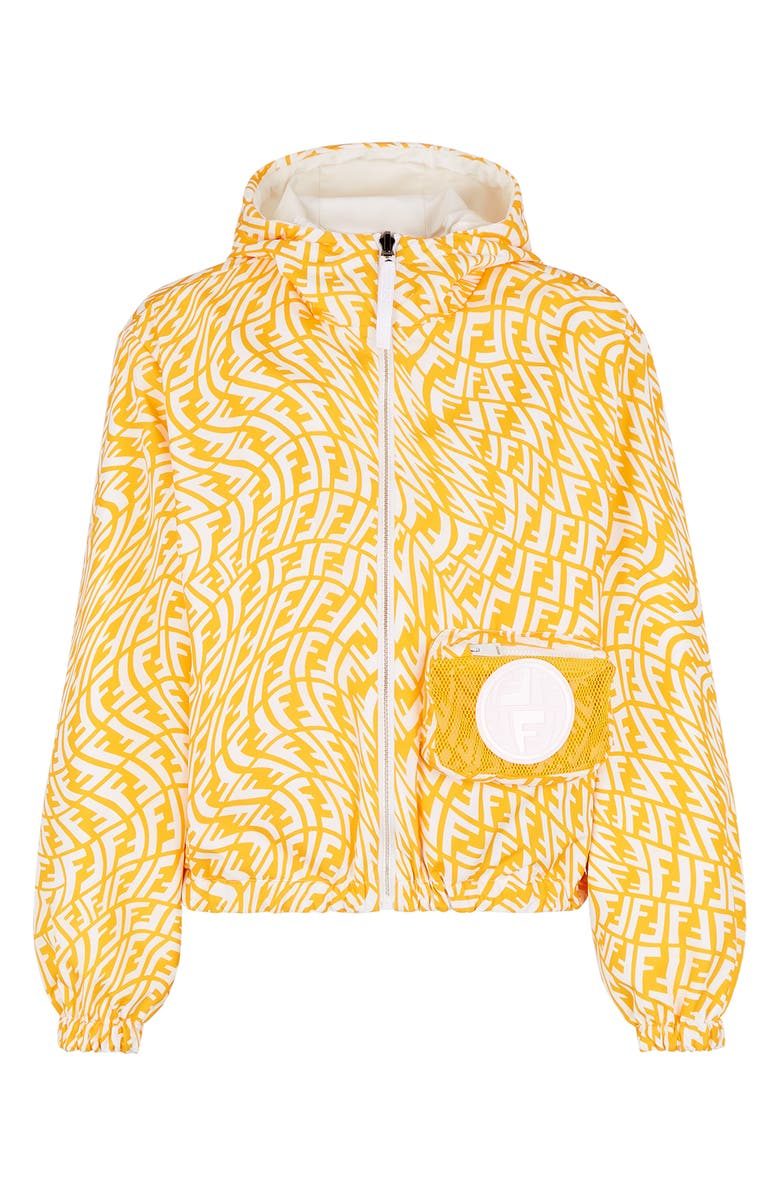 FENDI x Sarah Coleman FF Vertigo Reversible Hooded Jacket, Main, color, WELLE AND WHITE