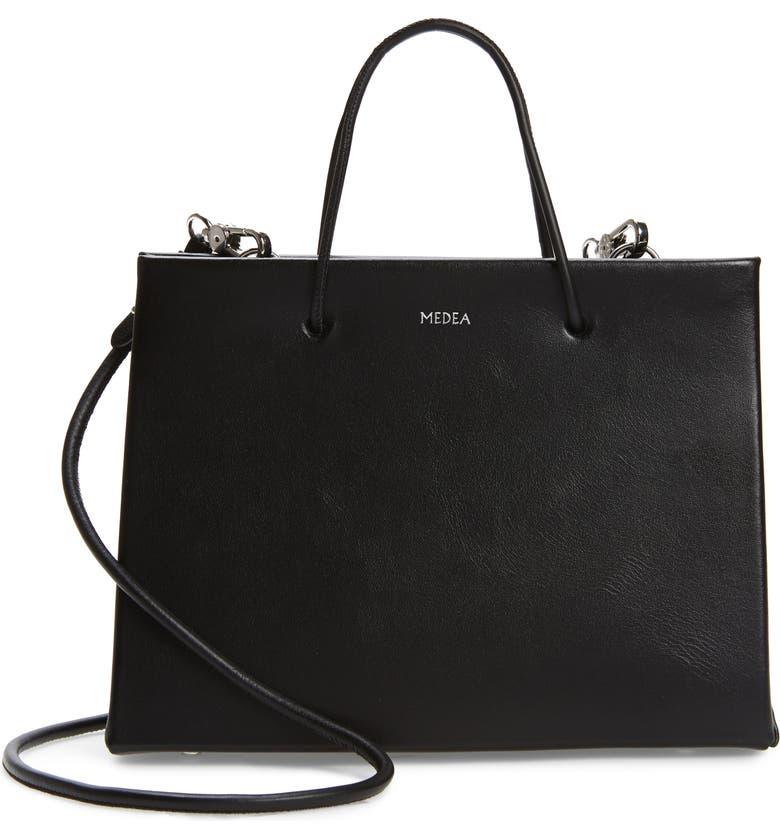 MEDEA Hanna Prima Calfskin Leather Bag, Main, color, BLACK