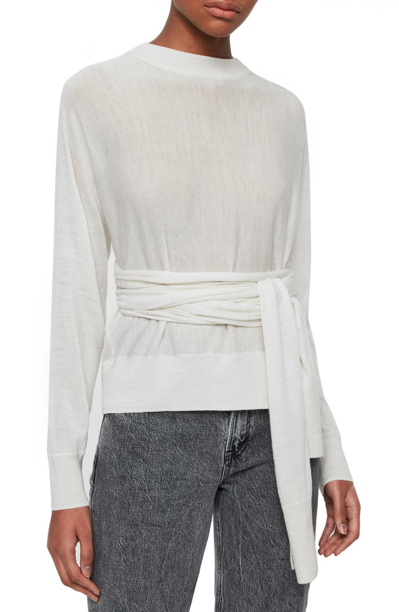 ALLSAINTS Flora Tie Waist Sweater, Main, color, IVORY WHITE MARL