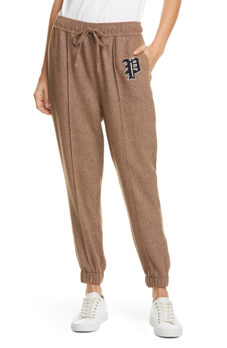 POLO RALPH LAUREN Herringbone Wool Blend Jogger Pants, Main, color, BROWN/ TAN HERRINGBONE