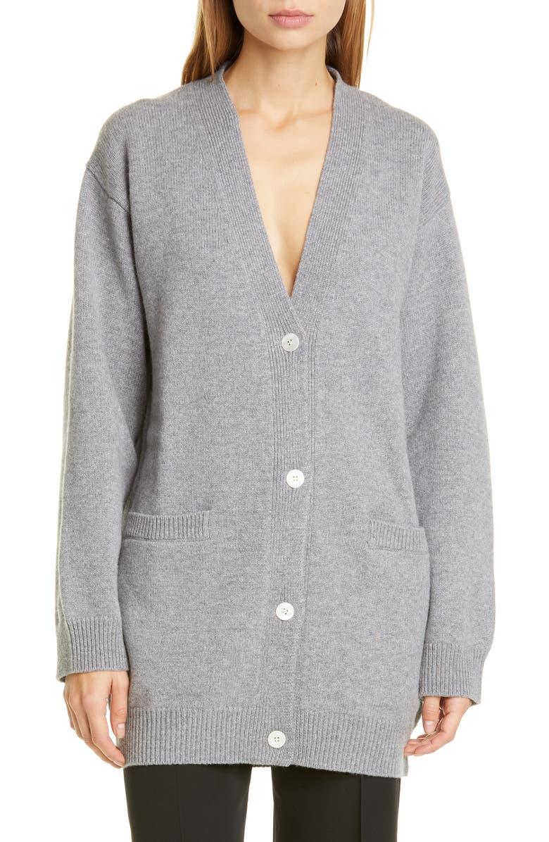 MANSUR GAVRIEL Longline Wool & Cashmere Cardigan, Main, color, GREY MELANGE