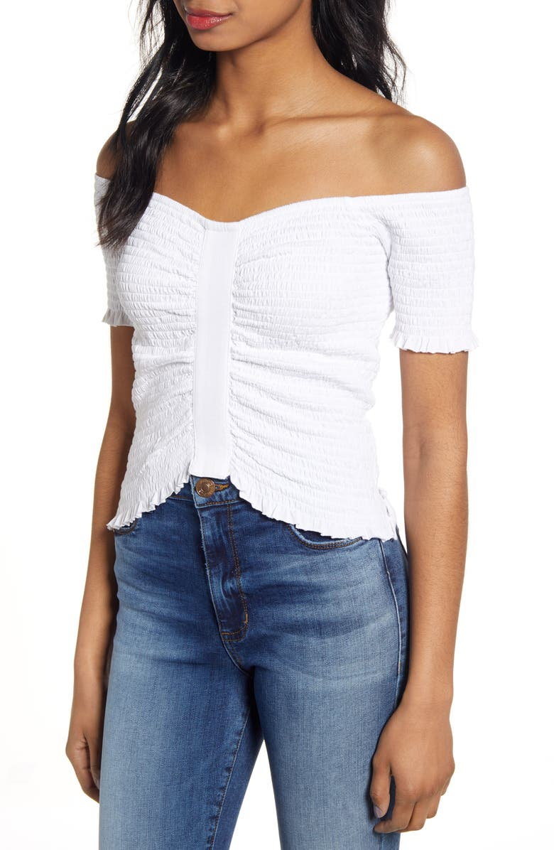 BP. Smocked Off the Shoulder Top, Main, color, WHITE