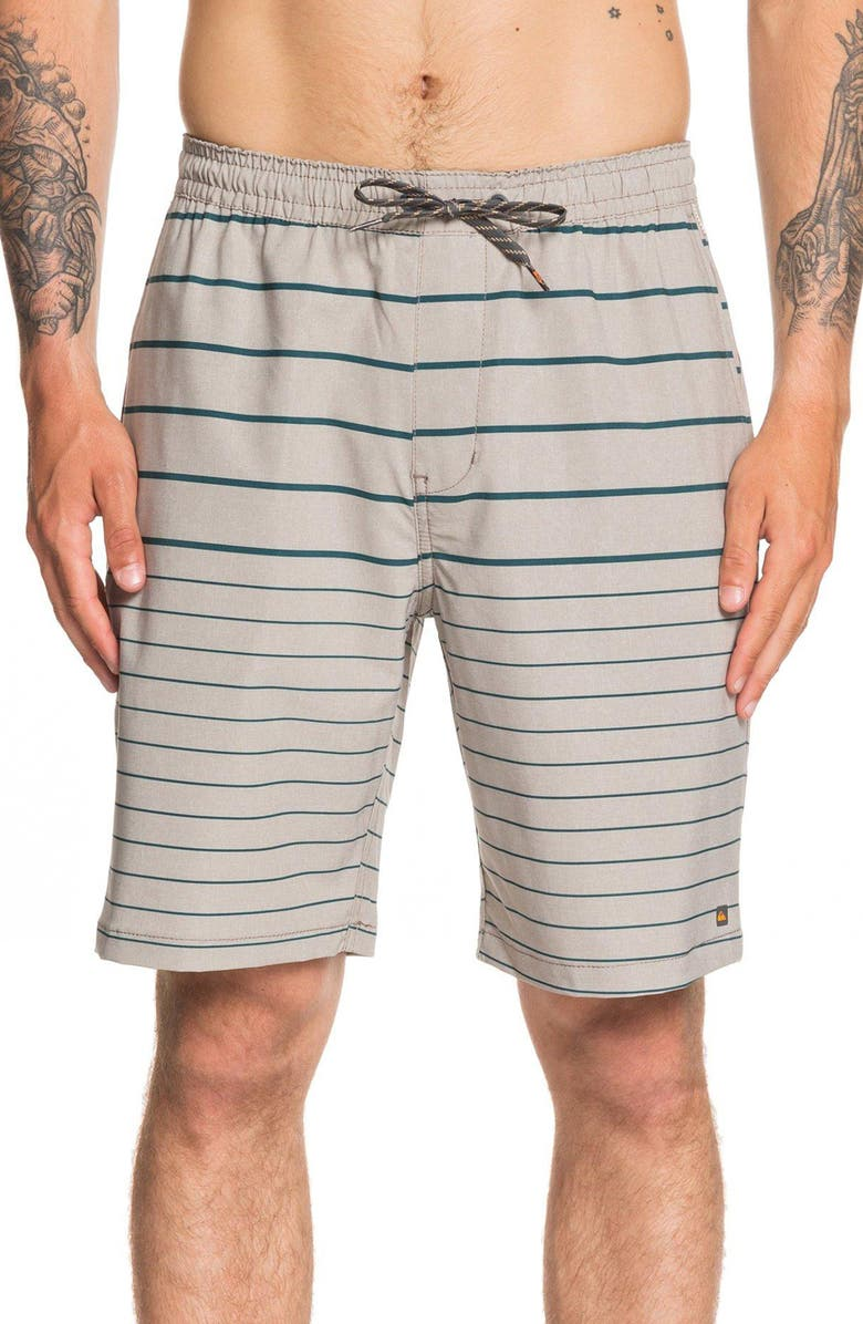 QUIKSILVER Suva Stripe Amphibian Water Repellent Shorts, Main, color, FLINT GRAY