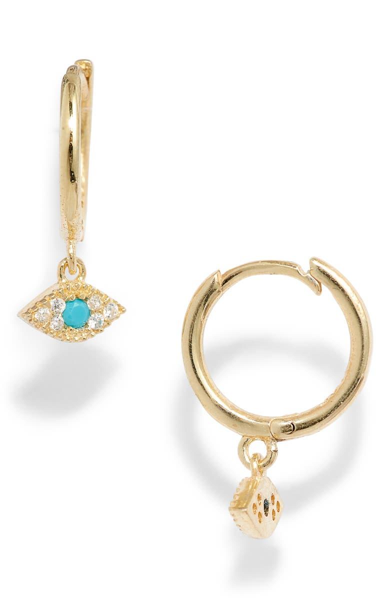 ADINA'S JEWELS Adina's Jewels Mini Evil Eye Huggie Earrings, Main, color, TURQUOISE
