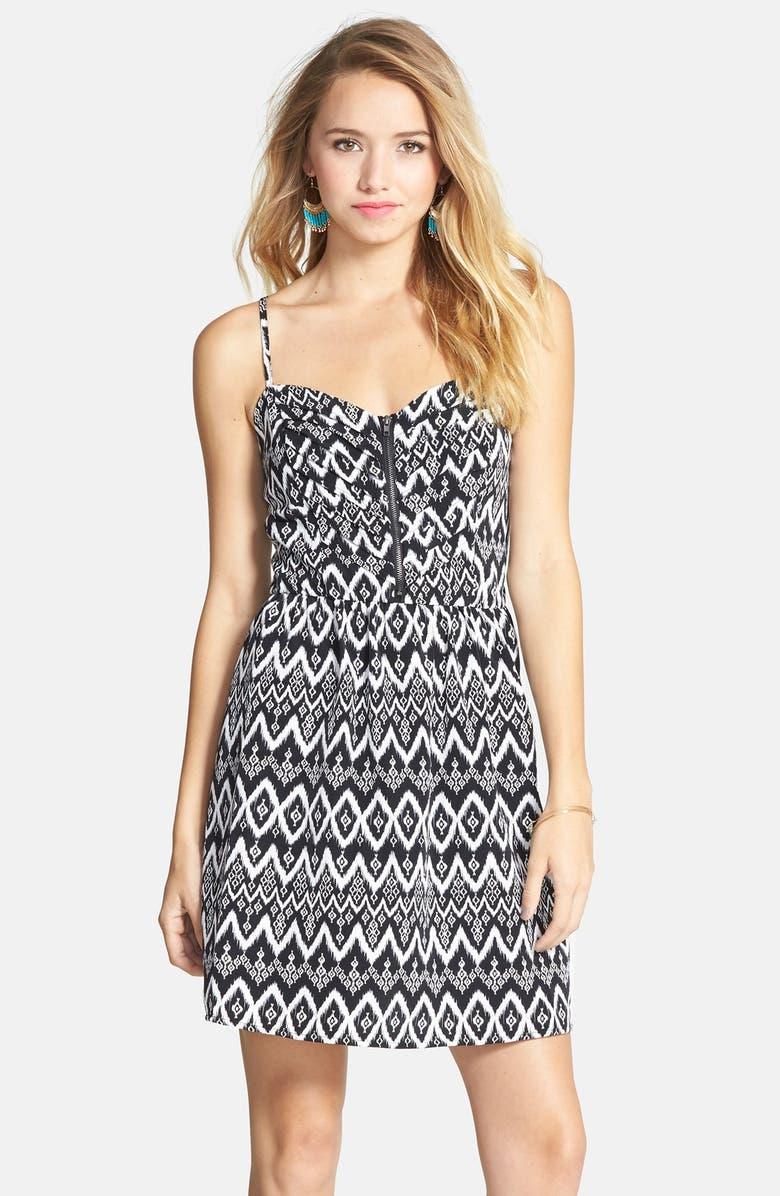 SOCIALITE Print Pleat Bodice Fit & Flare Dress, Main, color, 001