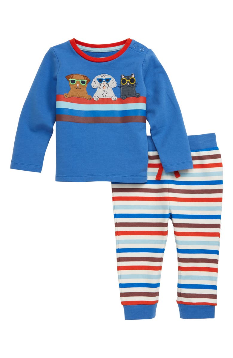 MINI BODEN Appliqué Pullover & Sweatpants Set, Main, color, OATMEAL MARL/ MULTI