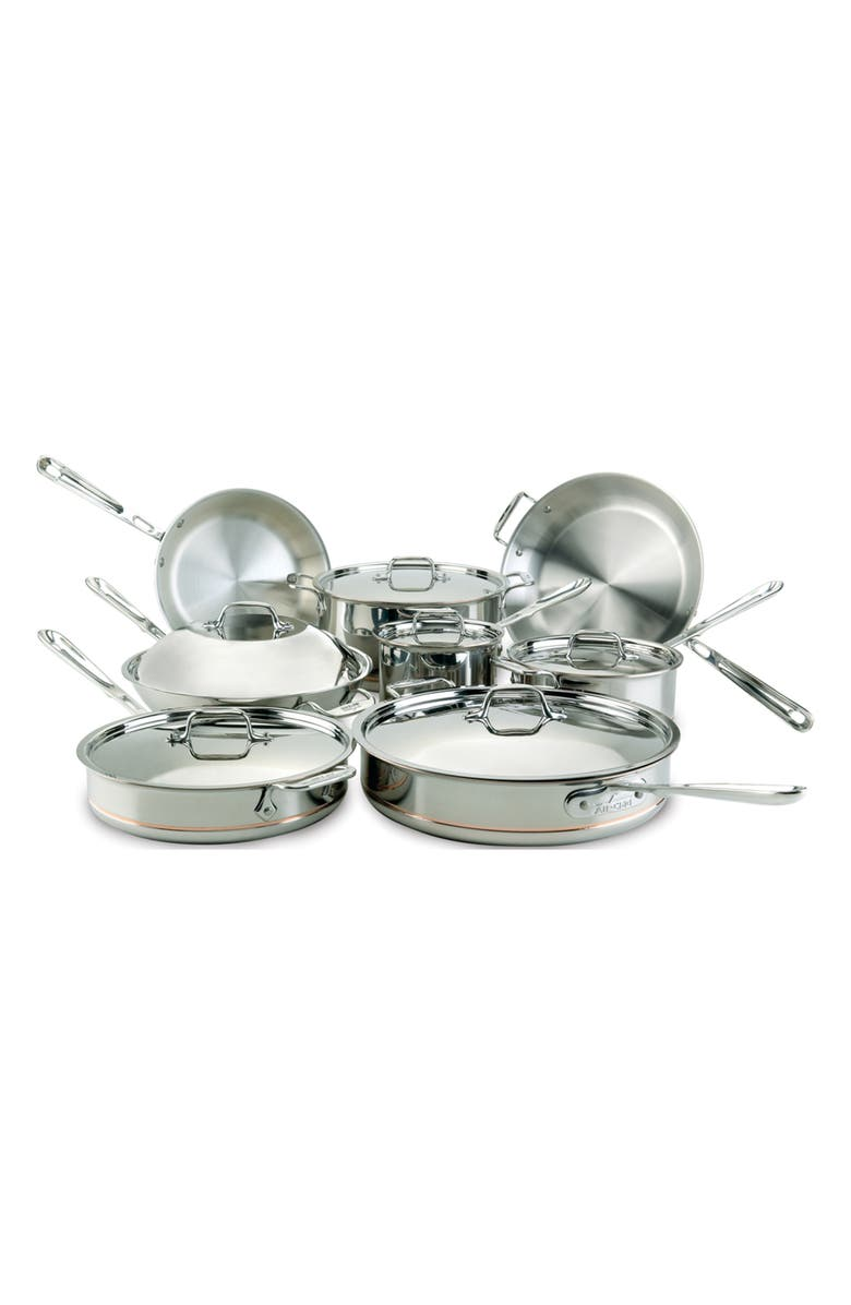 ALL-CLAD 14-Piece Copper Core Stainless Steel Set, Main, color, STAINLESS STEEL