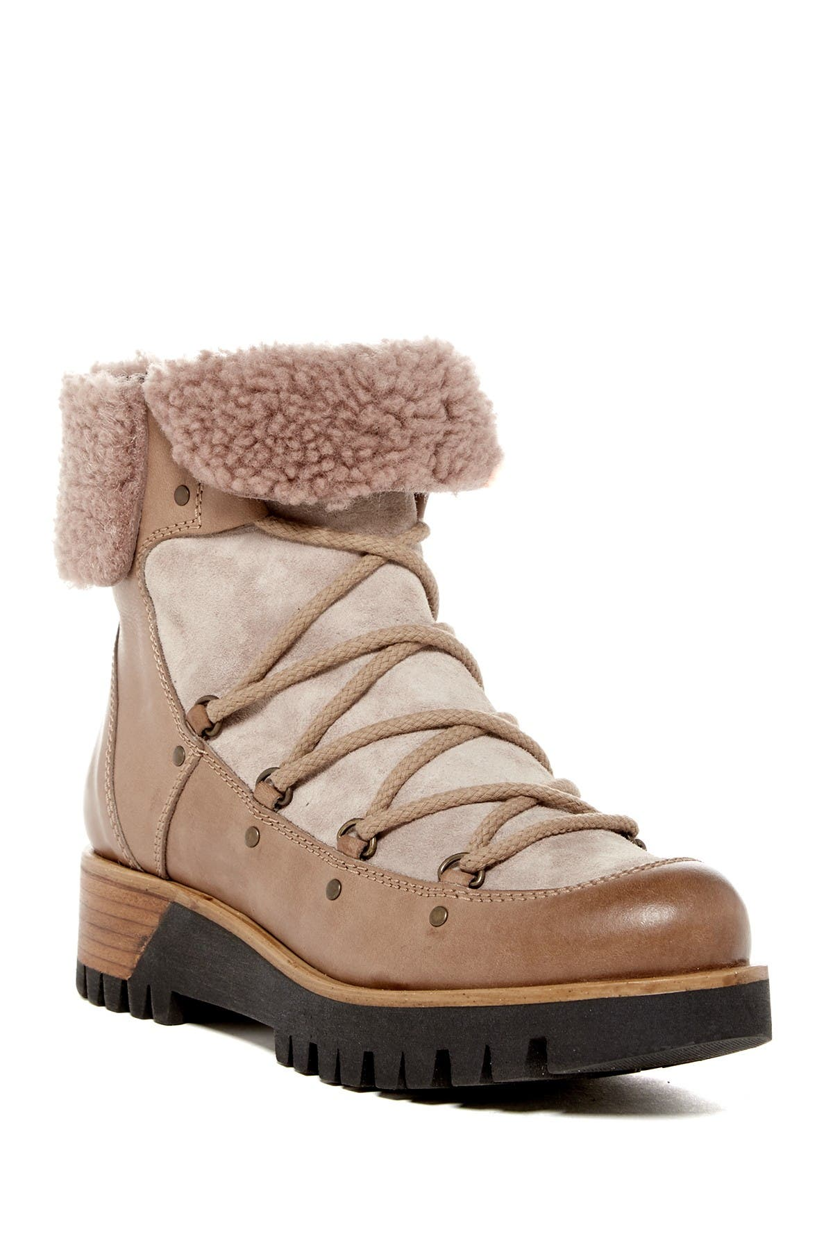 Image of Manas Genuine Sheepskin Trimmed Short Platform Boot