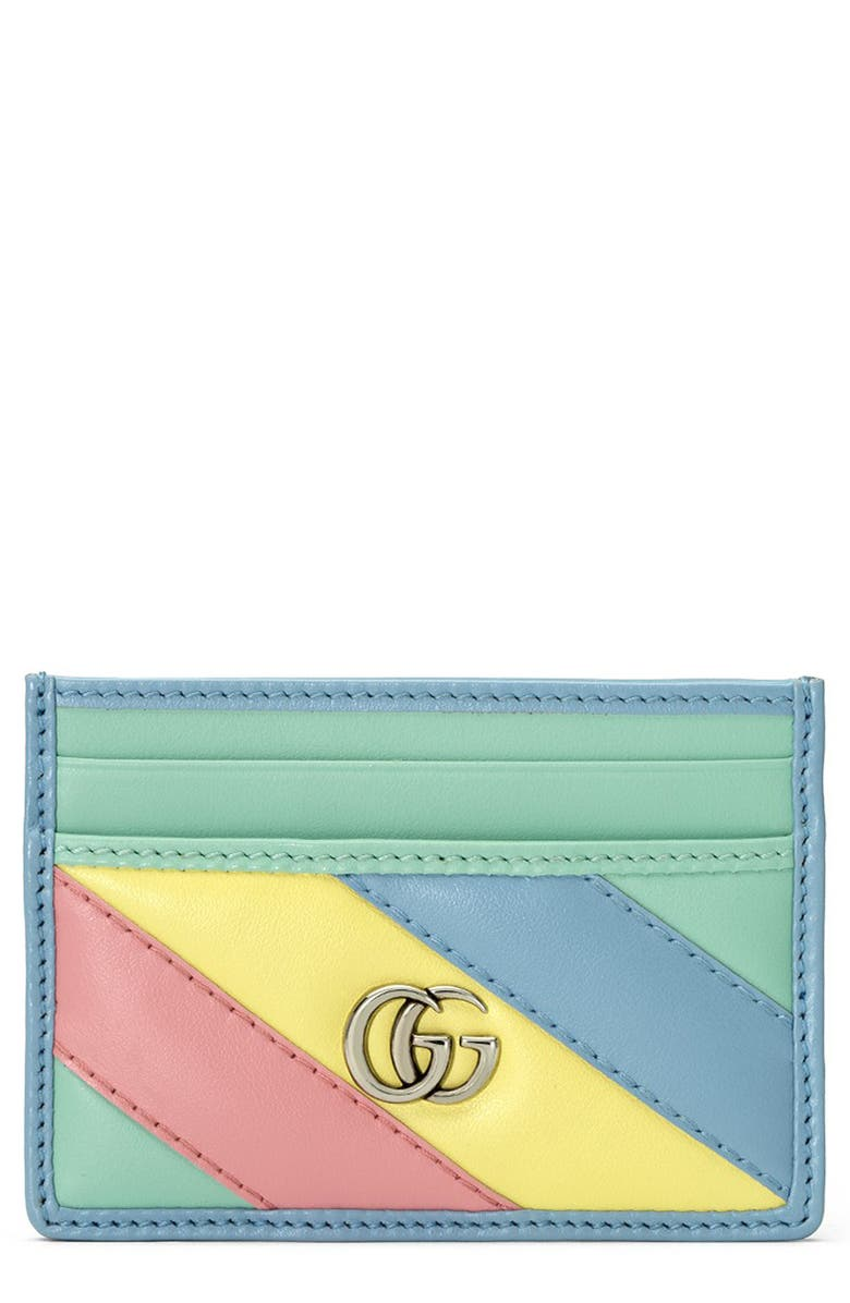 GUCCI GG Quilted Leather Card Case, Main, color, MULTICOLOR