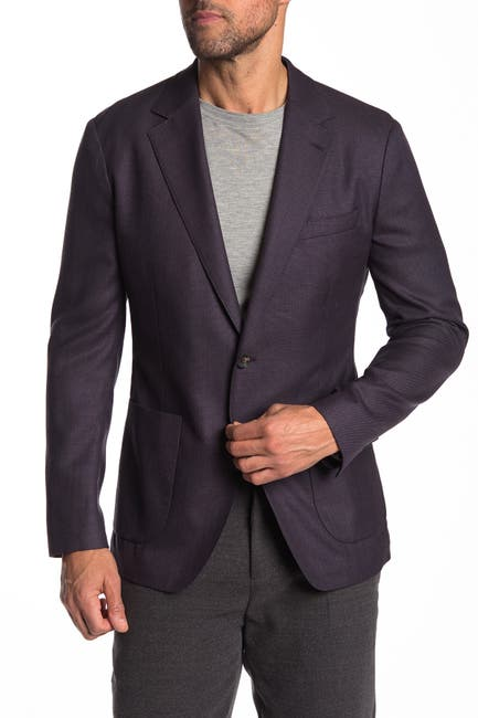 Image of Bonobos Purple Solid Two Button Notch Lapel Wool Slim Fit Suit Jacket
