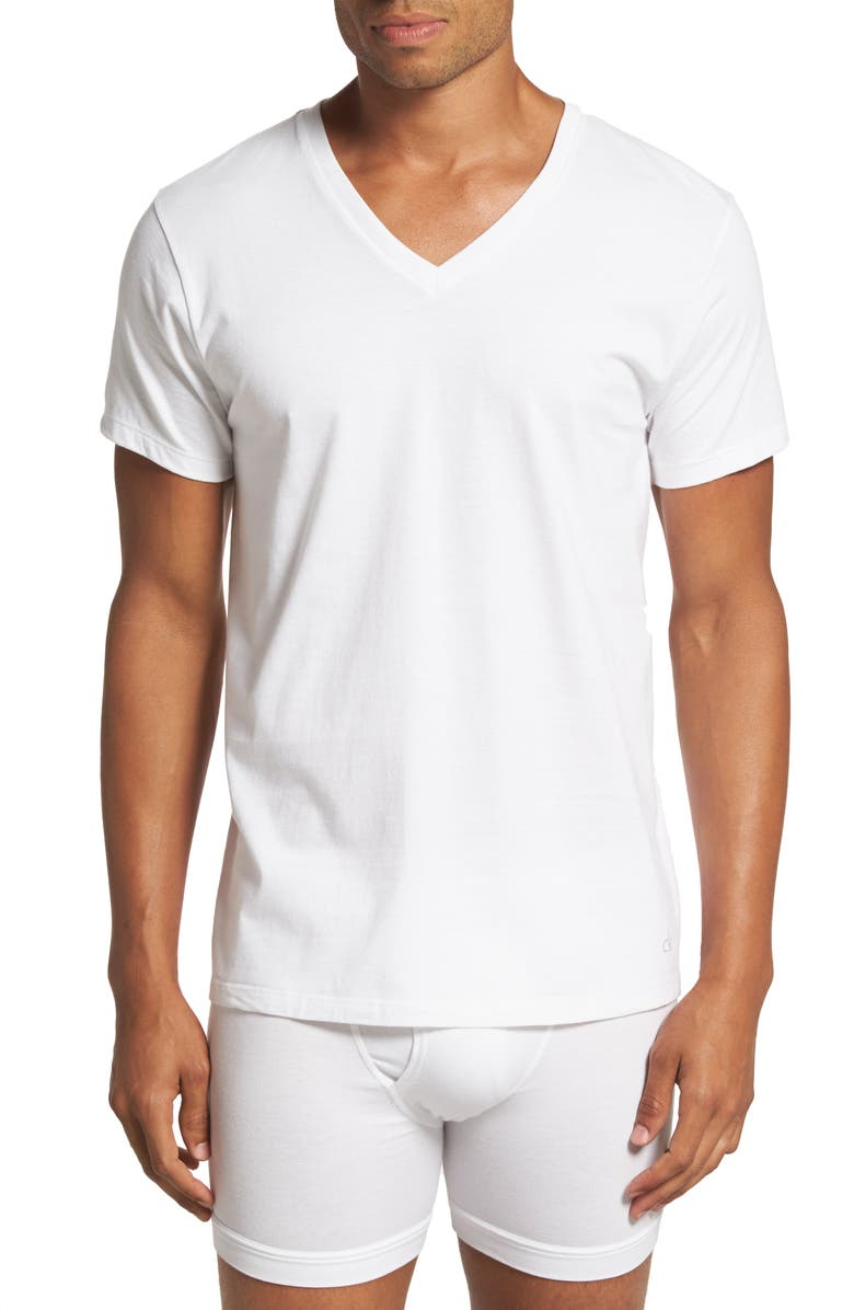 CALVIN KLEIN Classic 2-Pack Cotton V-Neck T-Shirt, Main, color, WHITE
