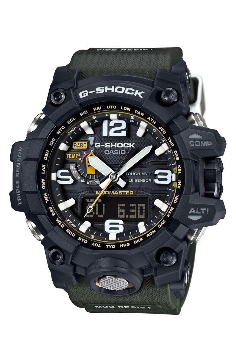 G-SHOCK BABY-G G-Shock 'Mudmaster Atomic' Resin Watch, 56mm, Main, color, BLACK