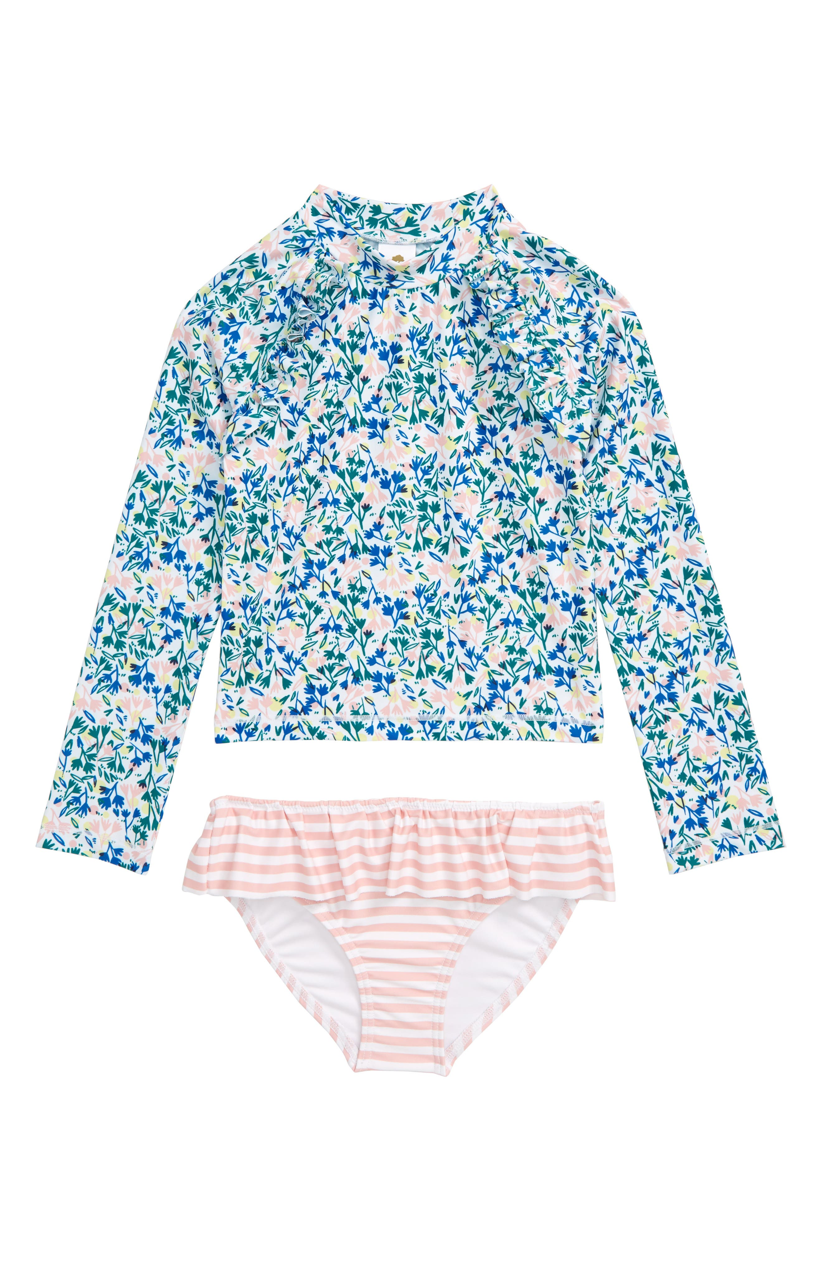Keep her protected from the surf, sun and sand with this darling set pairing a long-sleeve rashguard with coordinating ruffled bottoms. Style Name: Tucker + Tate Graphic Ruffle Two-Piece Rashguard Swimsuit (Toddler, Little Girl & Big Girl). Style Number: 5874212. Available in stores.