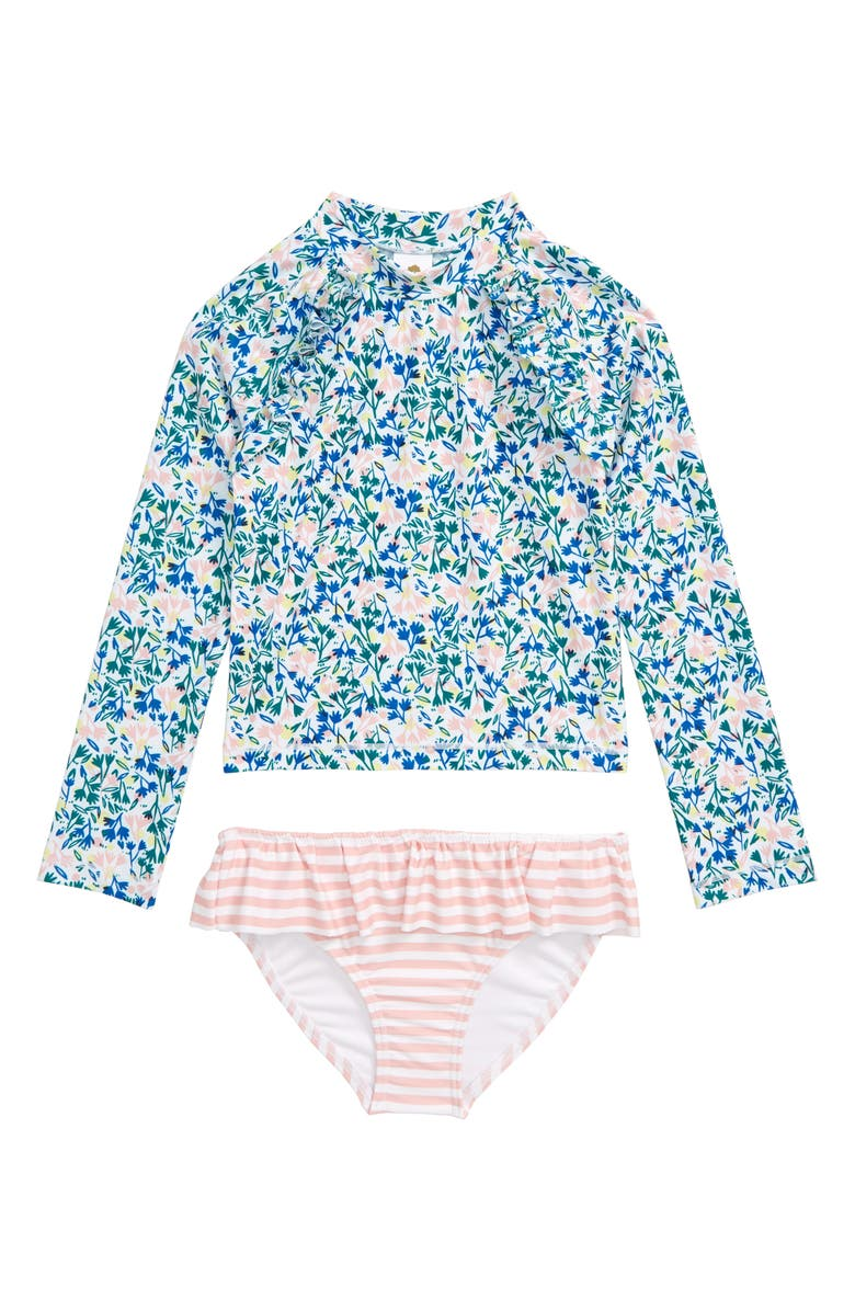 TUCKER + TATE Graphic Ruffle Two-Piece Rashguard Swimsuit, Main, color, WHITE PLAYFUL SPRIGS
