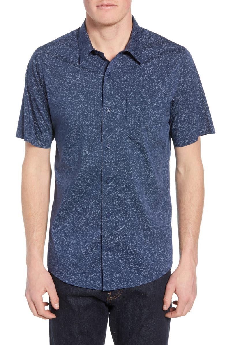 TRAVISMATHEW Particles Spot Print Regular Fit Shirt, Main, color, MOOD INDIGO
