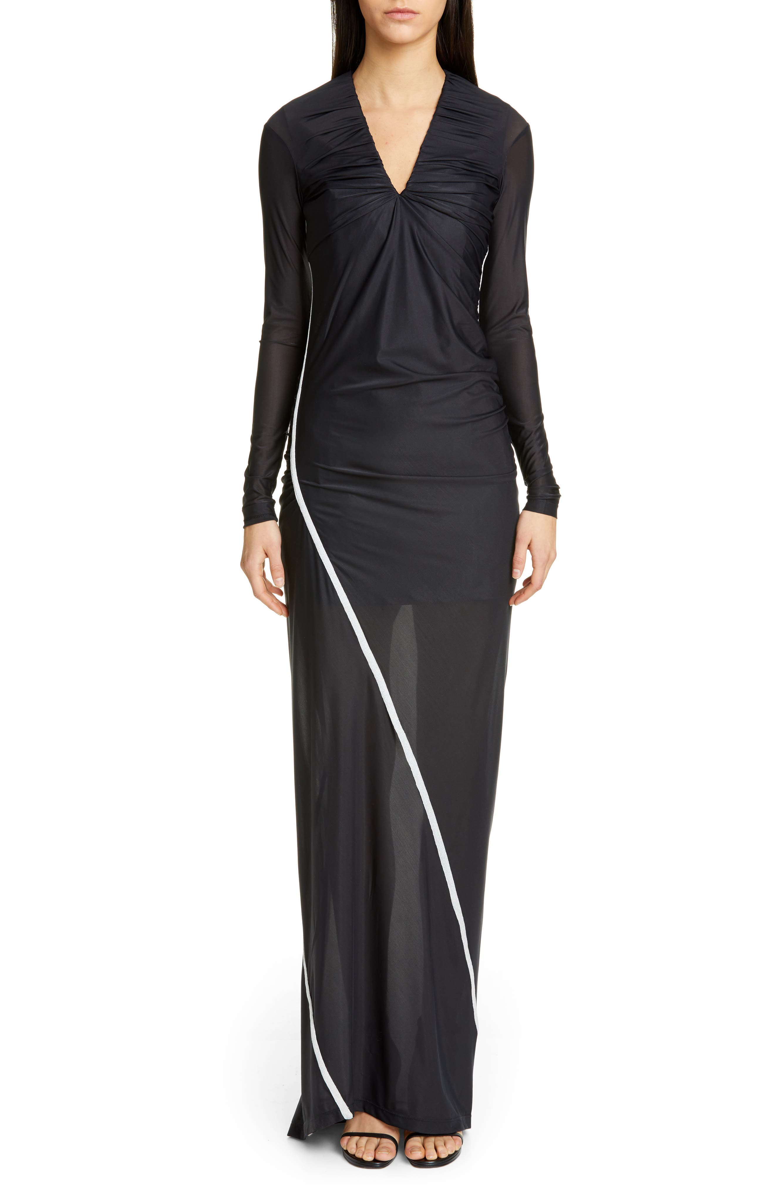 Fitted Convertible Long Sleeve Dress, Main, color, BLACK