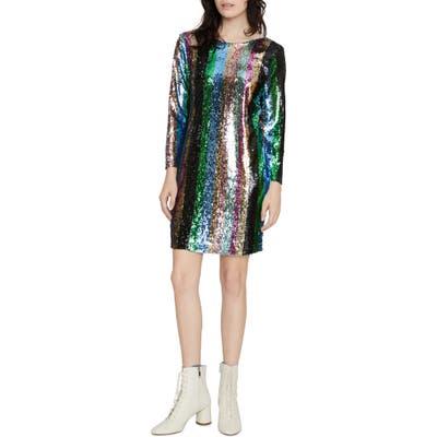 Petite Sanctuary Over The Rainbow Sequin Stripe Long Sleeve Minidress, Metallic