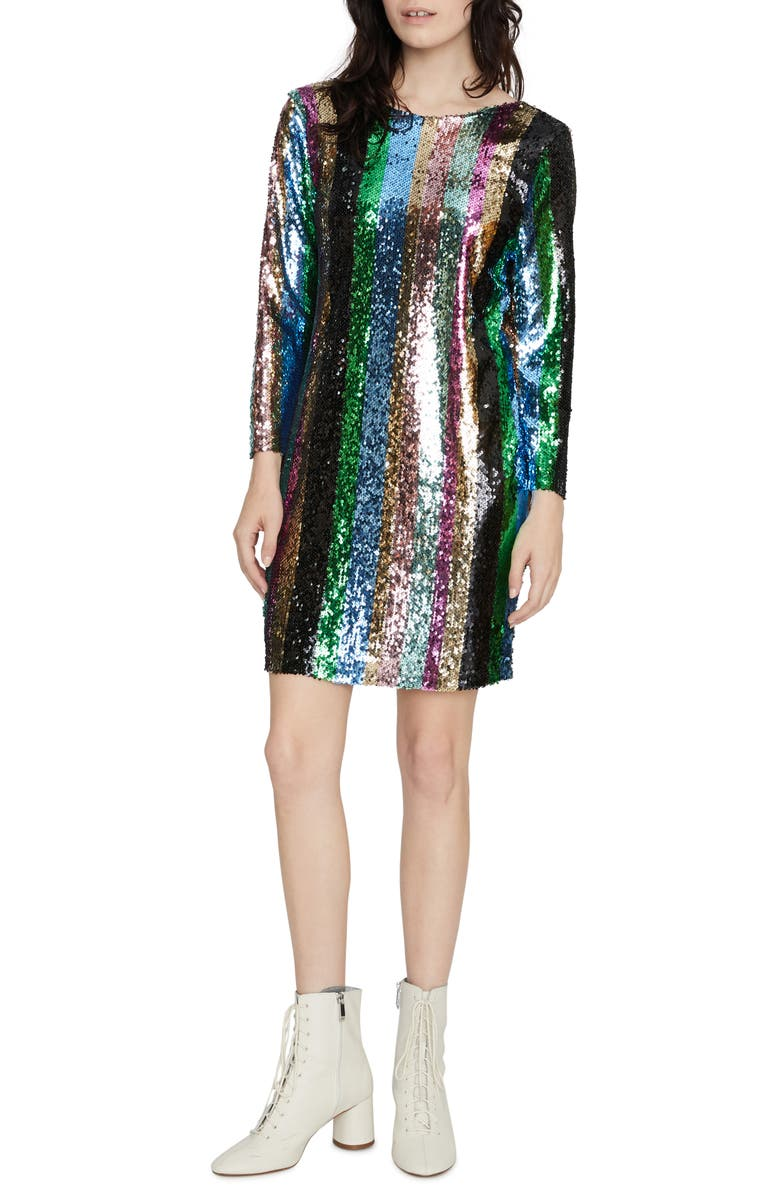 SANCTUARY Over the Rainbow Sequin Stripe Long Sleeve Minidress, Main, color, RAINBOW SEQUIN