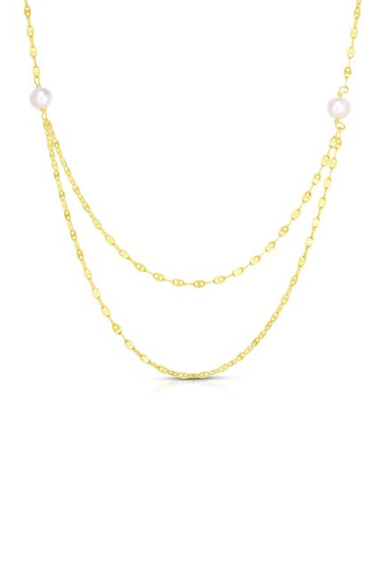 Image of Sphera Milano 14K Yellow Gold Plated Sterling Silver Freshwater Pearl Layered Necklace