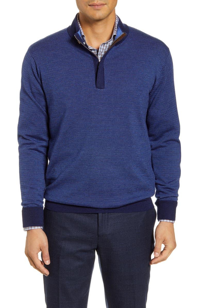 PETER MILLAR Needle Merino Wool Quarter Zip Pullover, Main, color, NAVY