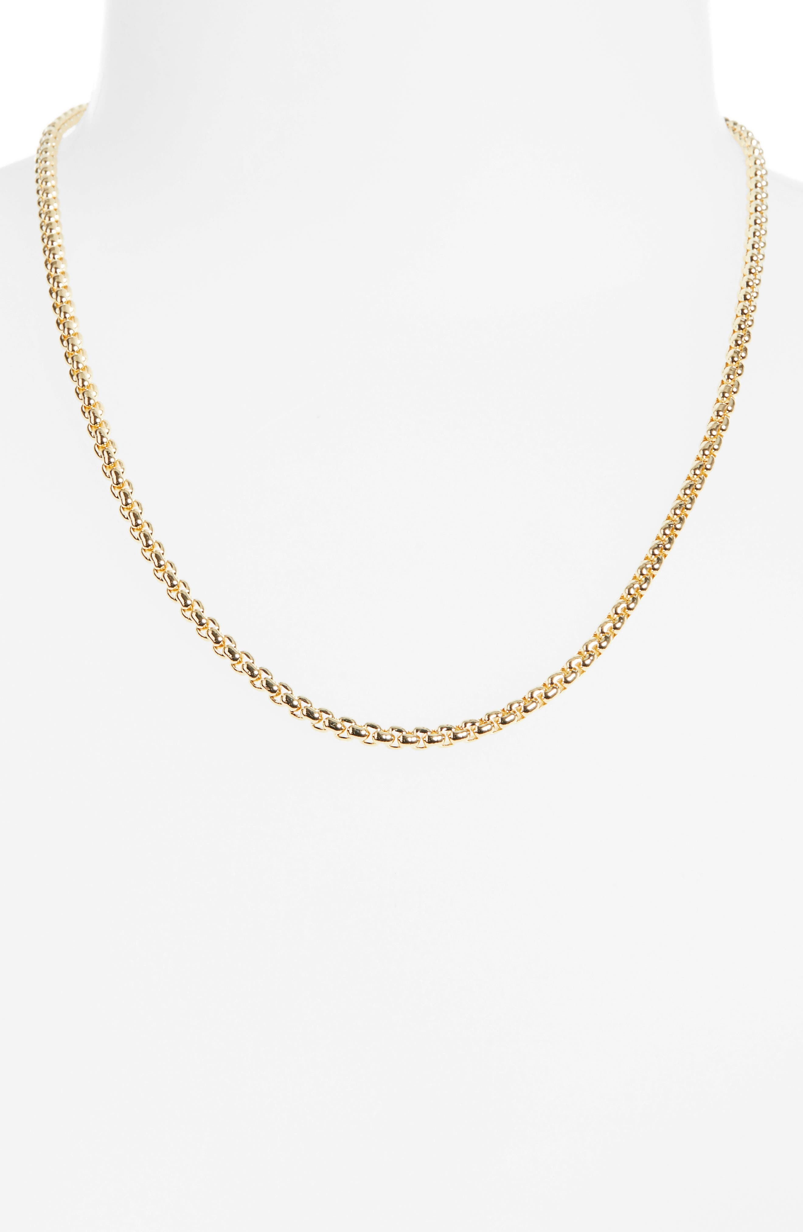,                             Box Chain Necklace,                             Alternate thumbnail 2, color,                             BRASS