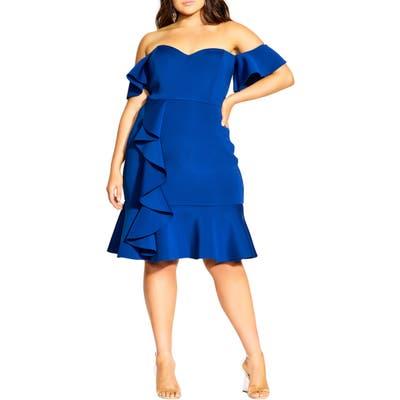 Plus Size City Chic Flutter Away Party Dress, Blue