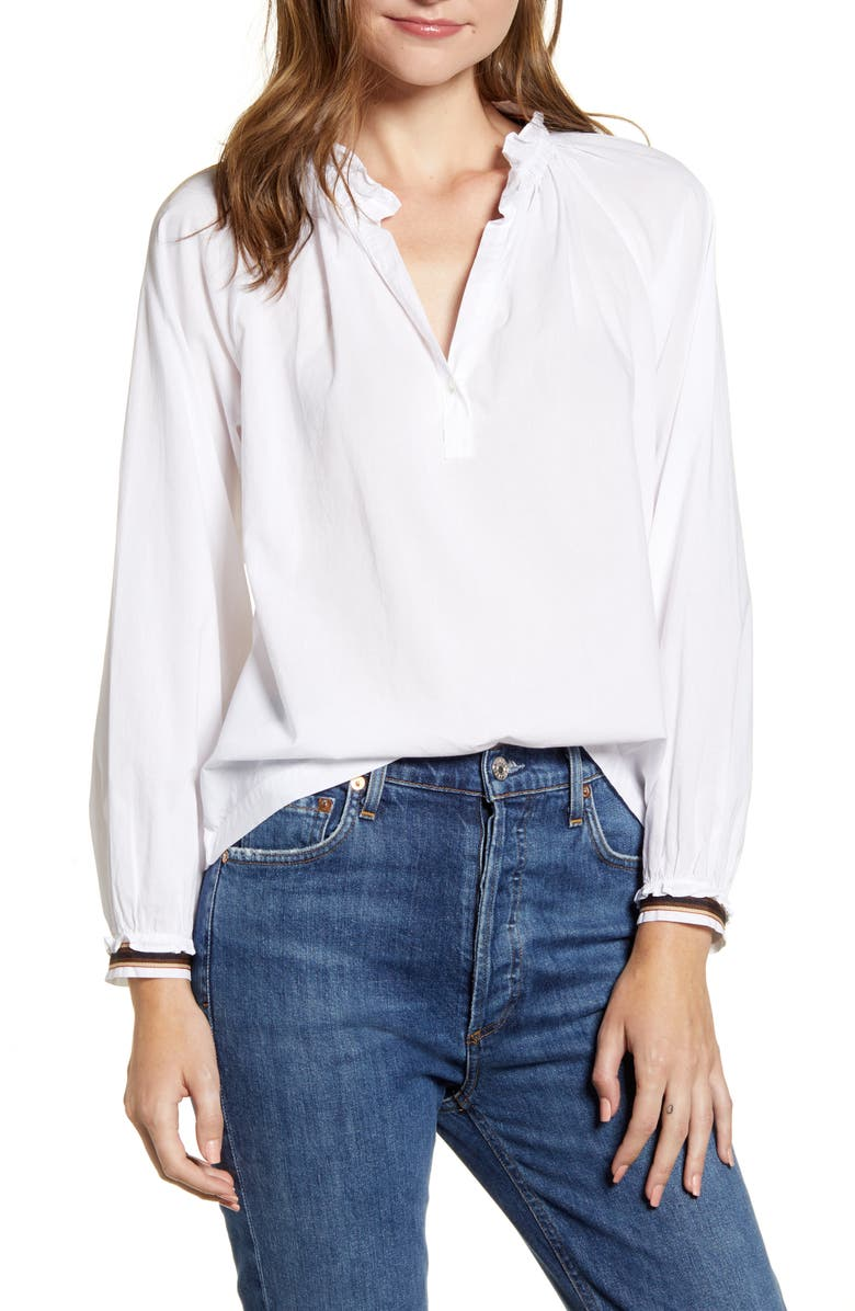 VELVET BY GRAHAM & SPENCER Ruffle Neck Cotton Blouse, Main, color, 100