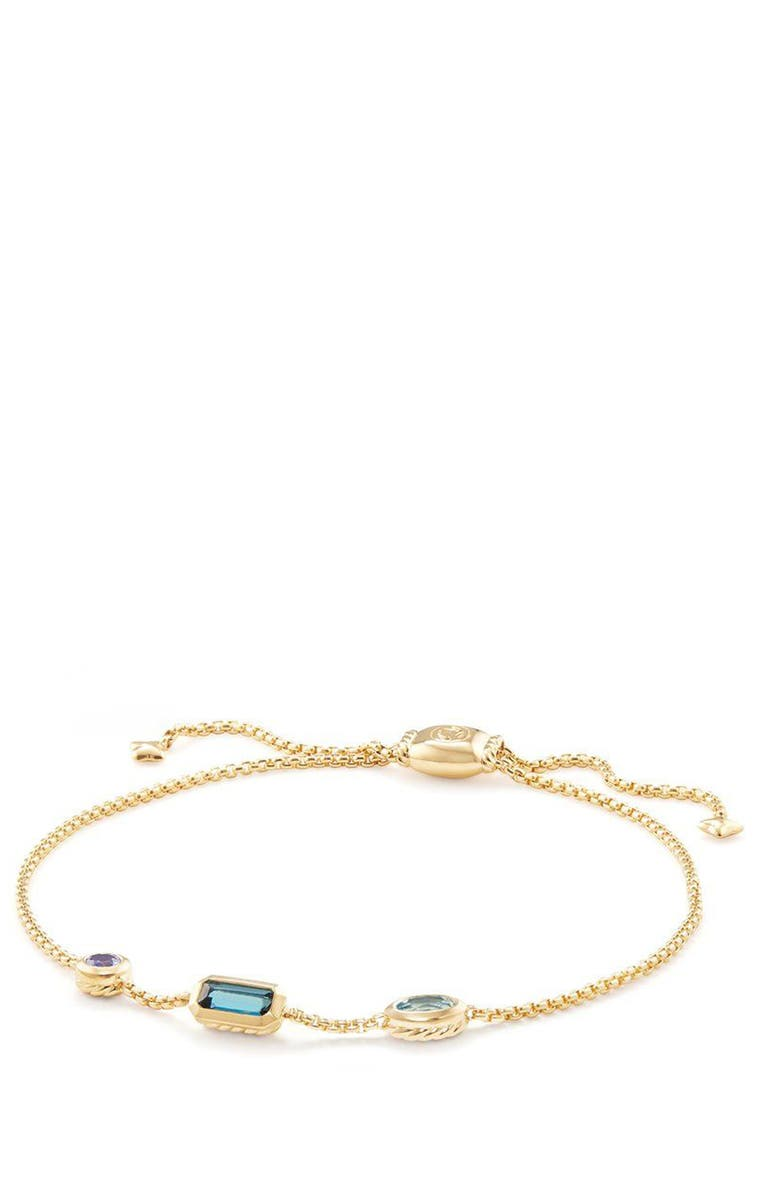 DAVID YURMAN Novella Chain Bracelet in 18K Gold, Main, color, GOLD/ HAMPTON BLUE TOPAZ