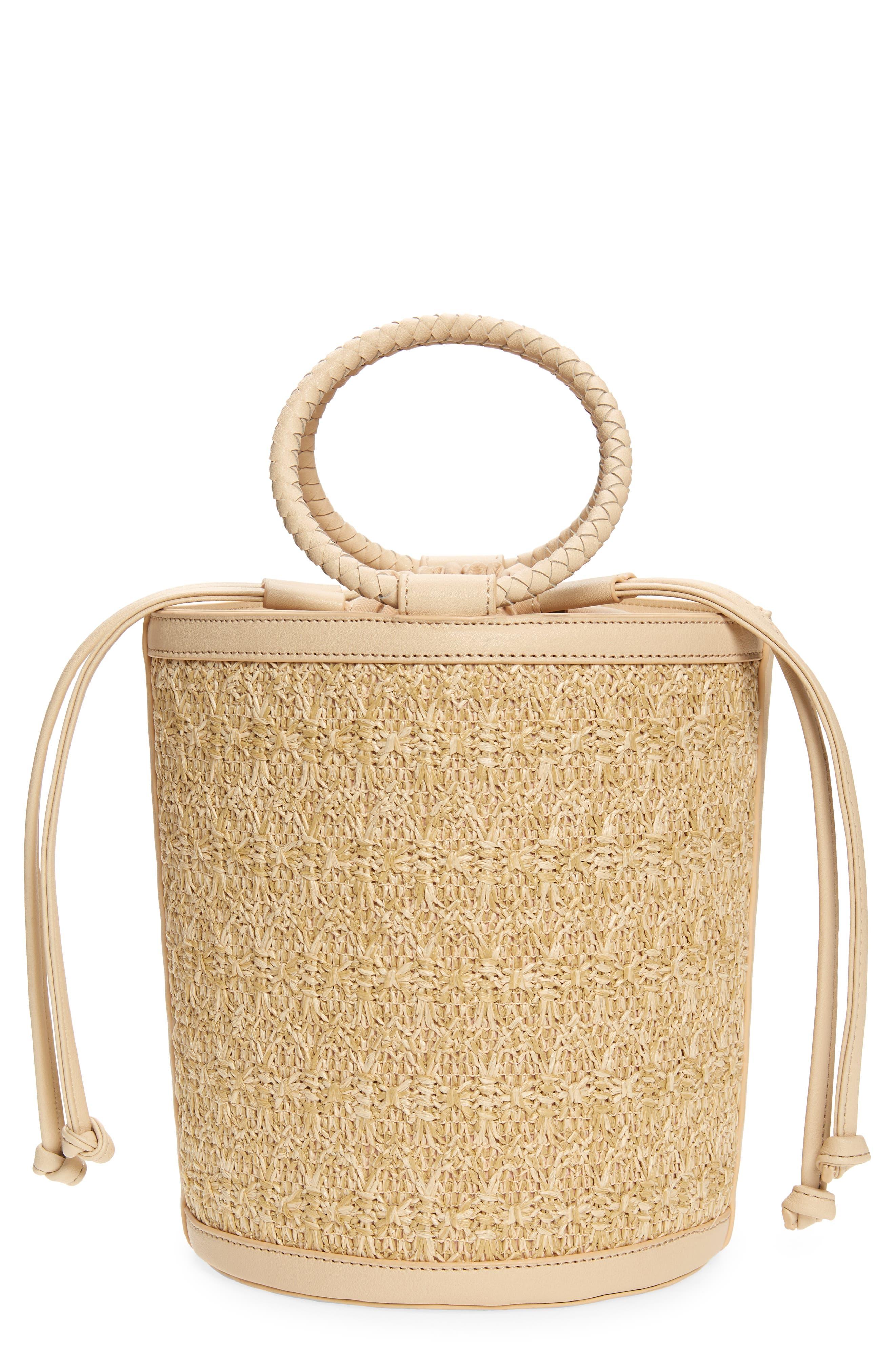 Mali + Lili Brittney Straw & Vegan Leather Bucket Bag