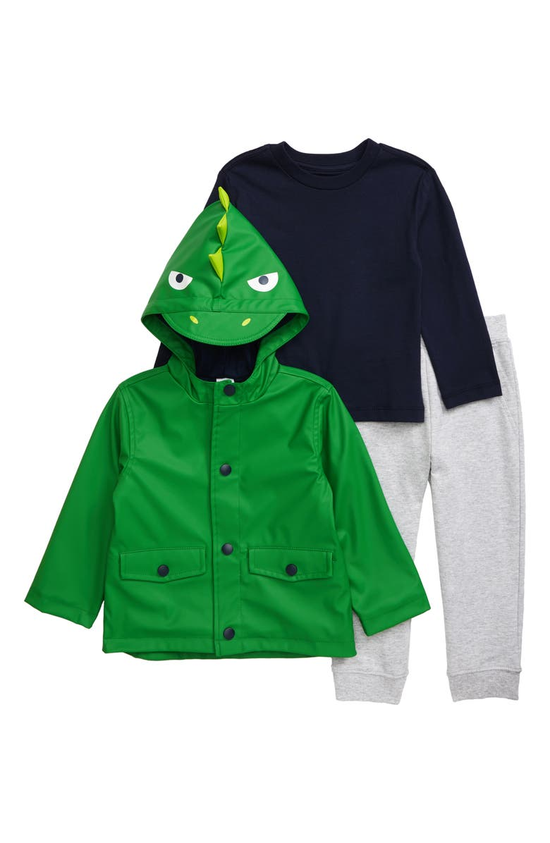 LITTLE ME Hooded Rain Jacket, Shirt & Sweatpants Set, Main, color, GREEN