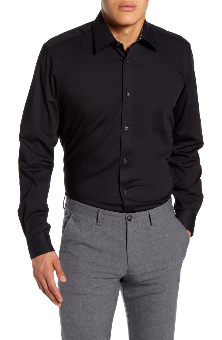TED BAKER LONDON Sunray Trim Fit Stretch Dress Shirt, Main, color, BLACK