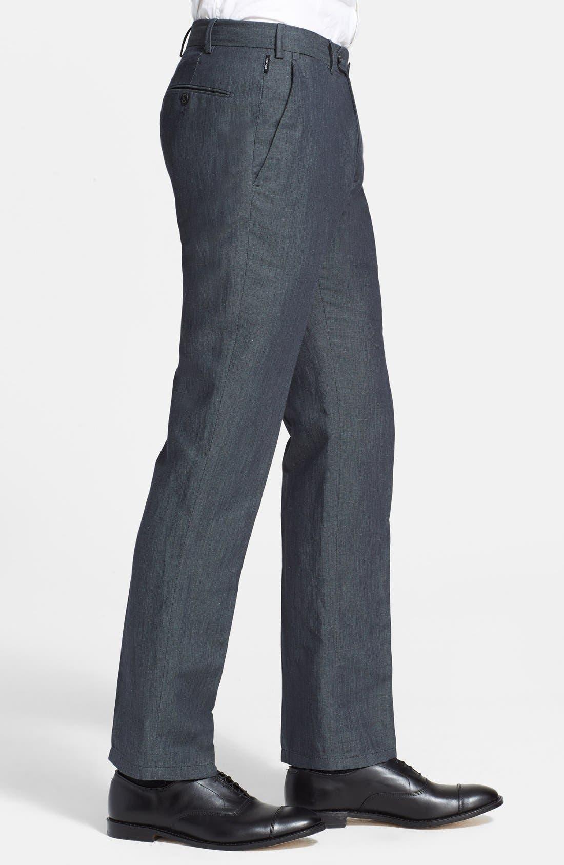 ,                             Armani Collezioni Flax & Cotton Flat Front Trousers,                             Alternate thumbnail 2, color,                             034